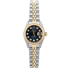 Rolex Datejust 26mm 69173 Women's Blue Diamond Yellow Gold 26mm 1 Year Warranty