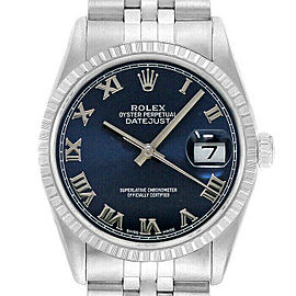 Rolex Datejust 36mm 16220 Unisex Blue Roman Stainless Steel 36mm 1 Year Warranty