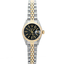 Rolex Datejust 69173 Women's Black Tapestry Index Gold 26mm 1 Year Warranty