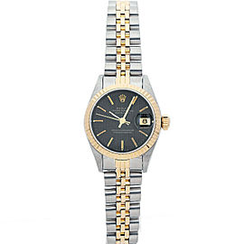 Rolex Datejust 6917 Women's Black Tapestry Yellow Gold 26mm 1 Year Warranty