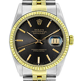 Rolex Datejust 16233 Unisex Black Tapestry Stick Gold 36mm 1 Year Warranty