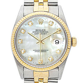 Rolex Datejust 16013 Unisex White MOP Diamond Yellow Gold 36mm 1 Year Warranty