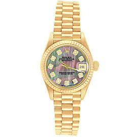 Rolex Datejust 69178 Women's Black MOP Diamonds Yellow Gold 26mm 1 Year Warranty