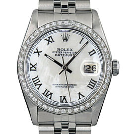 Rolex Datejust 36mm 16014 Unisex White MOP Roman White Gold 36mm 1 Year Warranty