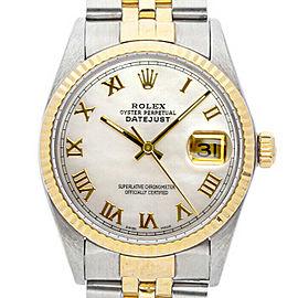 Rolex Datejust 16013 Unisex White MOP Roman Yellow Gold 36mm 1 Year Warranty