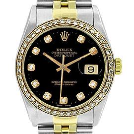 Rolex Datejust 36mm 16233 Unisex Black Diamond Yellow Gold 36mm 1 Year Warranty