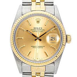 Rolex Datejust 16013 Unisex Champagne Index Yellow Gold 36mm 1 Year Warranty