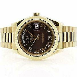 Rolex Day-Date II 218238 Men's Yellow Gold 41mm Automatic 1 Year Warranty