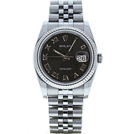 Rolex Datejust 116234 Unisex Black Jubilee Roman White Gold 36mm 1 Year Warranty