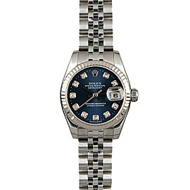 Rolex Datejust 26mm 179174 Women's Blue Diamond White Gold 26mm 1 Year Warranty