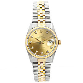 Rolex Datejust 16013 Unisex Champagne DIamond Yellow Gold 36mm 1 Year Warranty
