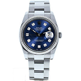 Rolex Datejust 36mm 116234 Unisex Blue Diamond White Gold 36mm 1 Year Warranty
