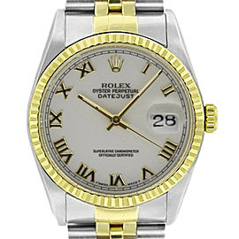 Rolex Datejust 36mm 16233 Unisex White Roman Yellow Gold 36mm 1 Year Warranty