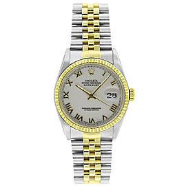 Rolex Datejust 36mm 16233 Unisex White Roman Yellow Gold 36mm 1 Year Warranty