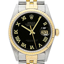 Rolex Datejust 36mm 16013 Unisex Black Roman Yellow Gold 36mm 1 Year Warranty