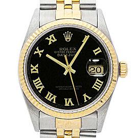 Rolex Datejust 36mm 16013 Unisex Black Roman Yellow Gold 36mm 1 Year Warranty
