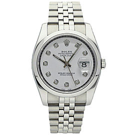 Rolex Datejust 36mm 116200 Unisex White Diamond Steel 36mm 1 Year Warranty