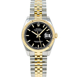 Rolex Datejust 31mm 178273 Women's Black Index Yellow Gold 31mm 1 Year Warranty