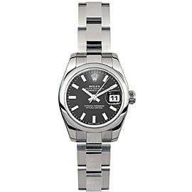 Rolex Datejust 26mm 179160 Women's Black Index Steel 26mm 1 Year Warranty
