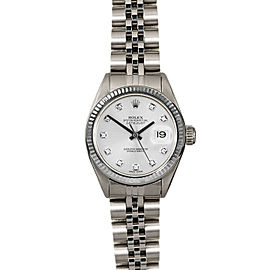 Rolex Datejust 26mm 6916 Women's Silver Diamond White Gold 26mm 1 Year Warranty