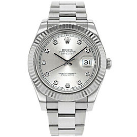 Rolex Datejust II 116334 Men's Silver Diamond White Gold 41mm 1 Year Warranty