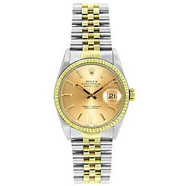 Rolex Datejust 16233 Unisex Champagne Index Yellow Gold 36mm 1 Year Warranty