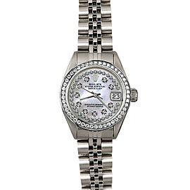 Rolex Datejust 6916 Women's White MOP Diamond White Gold 26mm 1 Year Warranty