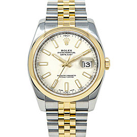 Rolex Datejust 36mm 116203 Unisex White Index Yellow Gold 36mm 1 Year Warranty