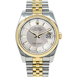 Rolex Datejust 36mm 116203 Unisex Silver Tuxedo Yellow Gold 36mm 1 Year Warranty