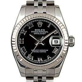 Rolex Datejust 26mm 179174 Women's Black Roman White Gold 26mm 1 Year Warranty