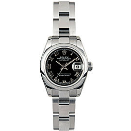 Rolex Datejust 26mm 179160 Women's Black Roman Steel 26mm 1 Year Warranty