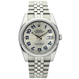 Rolex Datejust 116200 Unisex Silver Concentric Arabic Steel 36mm 1 Year Warranty