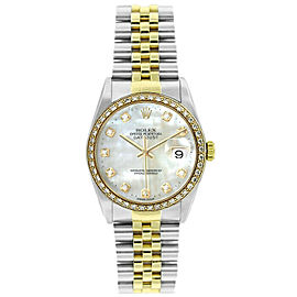 Rolex Datejust 16233 Unisex White MOP Diamond Yellow Gold 36mm 1 Year Warranty