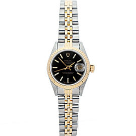 Rolex Datejust 26mm 69173 Women's Black Index Yellow Gold 26mm 1 Year Warranty