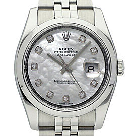 Rolex Datejust 36mm 116200 Unisex White MOPDiamond Stainless Steel 36mm 1YearWty