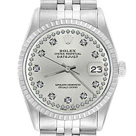 Rolex Datejust 36mm 16220 Unisex Silver Diamond Steel 36mm 1 Year Warranty