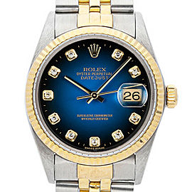 Rolex Datejust 36mm 16013 Unisex Blue Diamond Yellow Gold 36mm 1 Year Warranty