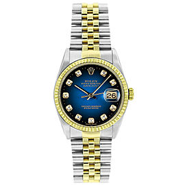 Rolex Datejust 36mm 16233 Unisex Blue Diamond Yellow Gold 36mm 1 Year Warranty