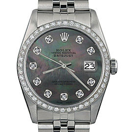 Rolex Datejust 16014 Unisex Black MOP Diamond White Gold 36mm 1 Year Warranty