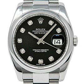 Rolex Datejust 36mm 116200 Unisex Black Diamond Steel 36mm 1 Year Warranty