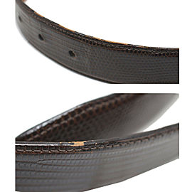 Barry Kieselstein-Cord Silver Alligator Grand Buckle Brown Leather Belt