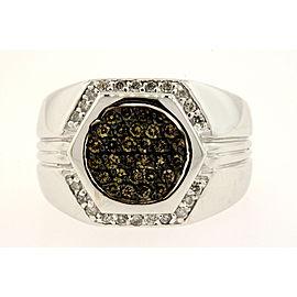 Effy Diamond Ring .84ct Mens Brown White 14k Gold size 9 Pinky Signet