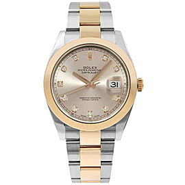 Rolex Mens Datejust 41mm 126301 Sundust Diamond Dial Rose Gold & Steel UNUSED