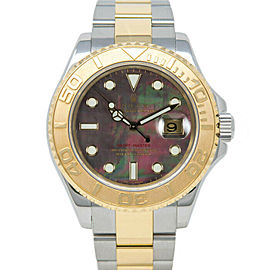 Rolex Yacht-Master 16623 Men's Black MOP Yellow Gold 40mm 1 Year Warranty