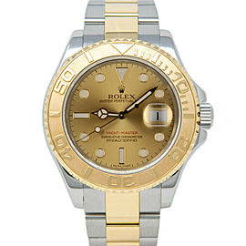 Rolex Mens Stainless Steel & 18K Gold Yachtmaster 16623 Champagne Dial 40mm MINT