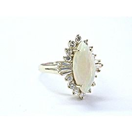 Marquise Opal & Multi Shape Diamond Ring 14KT Yellow Gold 4.60Ct 14KT