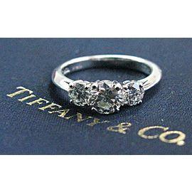 Tiffany & Co Round Diamond Three Stone Engagement Ring Platinum 950 1.03Ct E-VVS