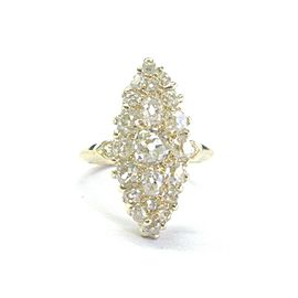 Vintage Old Mine Cut Diamond Cluster Ring 18Kt Yellow Gold 2.17Ct