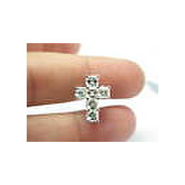 Asscher Cut NATURAL Diamond Cross Pendant 14Kt White Gold 2.85Ct