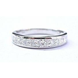 Natural Princess Cut Diamond Band Ring 14KT White Gold 10-Stones .80Ct